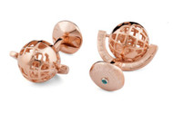 Rose Gold Skeleton Globe Cufflinks