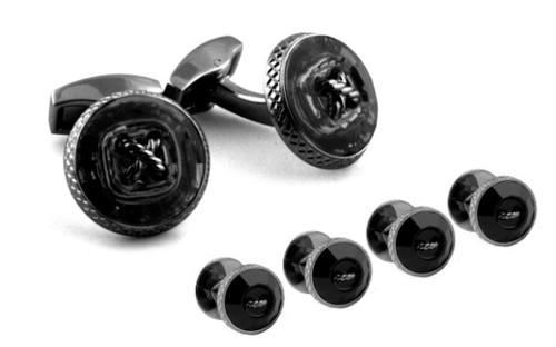 Gunmetal Swarovski Crystal Black Button Cufflinks
