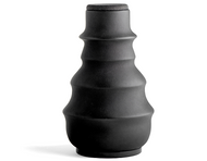 Earthenware Vase w. Black Stretched Lamb Leather, Shagreen Cap, Marble base and Glas insert 14 3/8