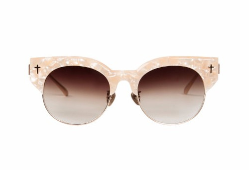 ADCC ll - Peach Pearl w Brush Rose Gold Titanim Trim/Brown Gradient Lens