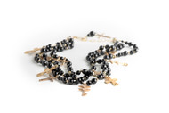 3 Strand Black Onyx Necklace with Crosses