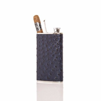 The Wingman Flask & Cigar Holder Blue Displayed