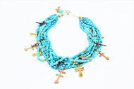 5 strand turquoise, bronze and 24k gold plated crosses and beads