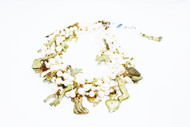 5 strand white pearls mix with gold plated milagros