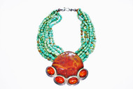 8 Strands Green chinese turquoise, breciated jasper & red chiapas amber