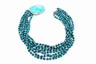 8 Strands Turquoise & Pearls with Oval Sonora Turquoise Clasp