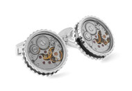 Round Skeleton Gear Cufflinks w Enamel Edge - Rhodium & Black