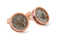 Round Skeleton Gear Cufflinks w Enamel Edge - Rose Gold & Burgundy