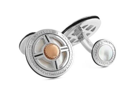 Precious UFO Silver Cufflinks - White MOP & Black Enamel