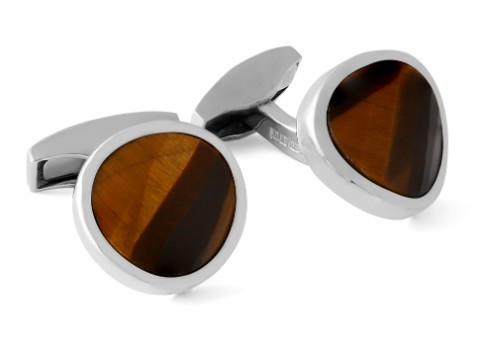 Gem Twist Round Silver Cufflinks w Tiger Eye