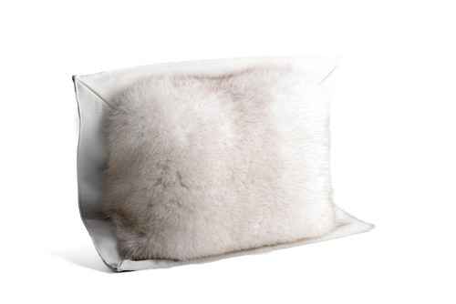 Blue Fox and Leather Pillow