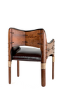 Tuvalu dining chair, brompton, royal oak leather - Back View