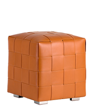 Woven Leather Ottoman