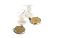 White Mother of pearl shell and Gold plated coins earrings