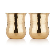 Belmont-Hammered Brass Shot Glasses