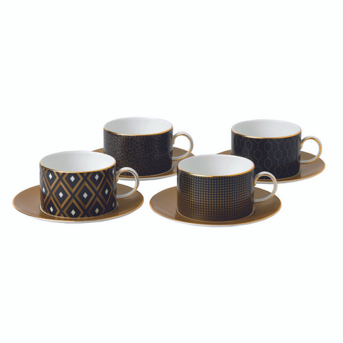 Arris Accent Teacup & Saucer: Set of 4