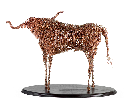 Copper Longhorn Sculpture - Front View