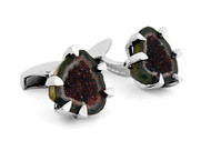 Geode Black & Rhodium Plated Cufflinks
