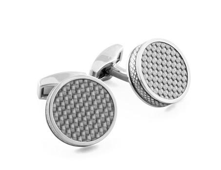 Round Tablet Enamel on Grey Carbon Cufflinks