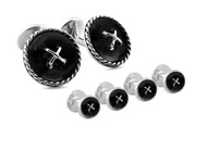 Shirt Studs Cufflink Set Cable Button Double Ended Black Agate