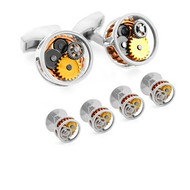 Shirt Studs Cufflink Set Gear Round Rhodium Plated