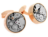 Skeleton Round Rose Gold Color Cufflinks