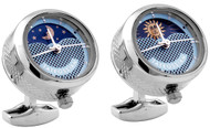 Sun and Moon Rhodium Plated Cufflinks