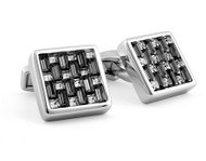 SW Interlock Square Black Cufflinks