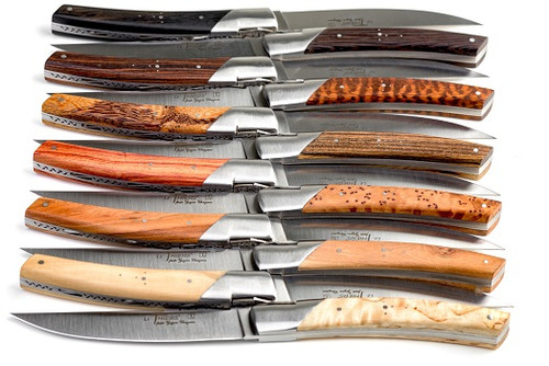 Set of 12 steak knives Le Thiers Pirou range, hand guilloch, different wood handles