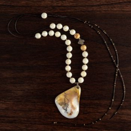 White and Tan Quartz Necklace