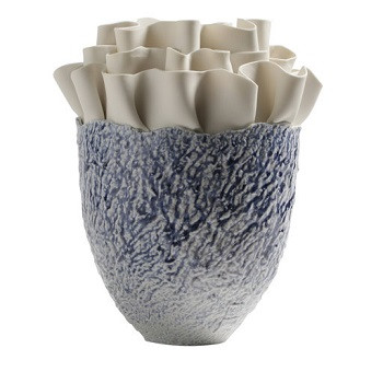 Ruffle Vase - Blue Speckle