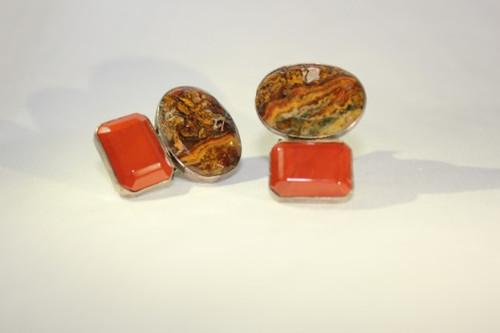 Earrings Oval Jasper & Red Jasper Clip