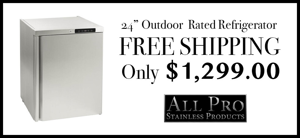 "All Pro Stainless Products - 24"" Outdoor Rated Refrigerator"