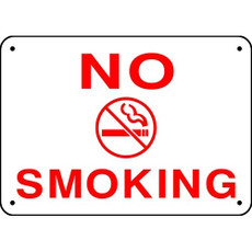 "No Smoking Sign, 10"" x 14"" Aluminum - White/Red"