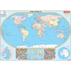 Laminated World Wall Map, Flat with Rails, FR175