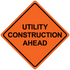 """48"""" x 48"""" Mesh Safety Signs Utility Construction Ahead Sign"""