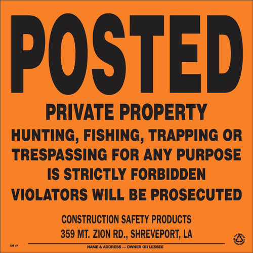 Custom Imprinted Posted Private Property Signs