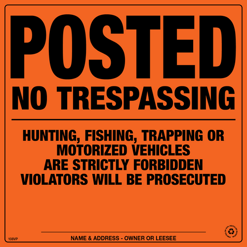 Posted No Trespassing Signs - Orange Aluminum (197HFTOA)