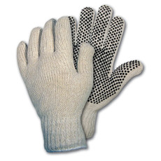 Memphis One Sided PVC Dotted String Knit Gloves (12 per Box), 9658-L
