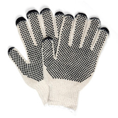 Memphis Two Sided PVC Dotted String Knit Gloves (12 per Box), 9667-L