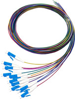 2M LC Pigtail OS1 12 Pack Colour Coded, 900um Single mode Fibre