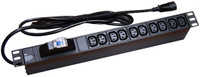 1RU Power Rail Horizontal 10 Position 10 Amp IEC (IEC320-C13) Outlets