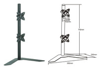 "Dual Vertical 10-23"" LCD Table Stand"