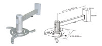 Projector wall bracket Adjustable from 480 - 660mm