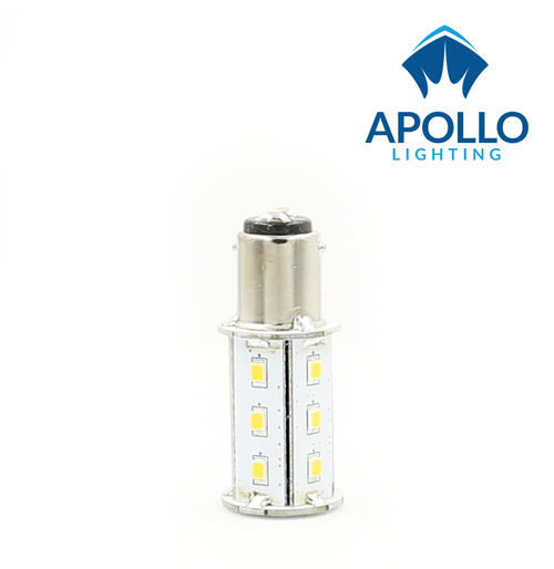 Double contact, standard pins. BA 15 LED Bulb for Interior Wall fixtures.