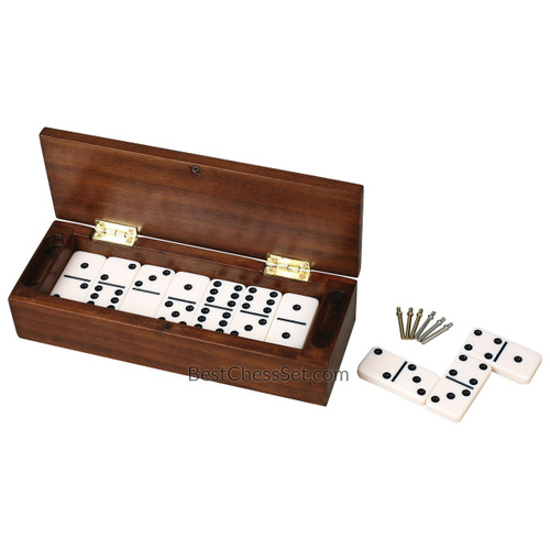 Daniel dominoes and cribbage board in striped dark wood case double six d6 game set 28 urea - Chess board display case ...