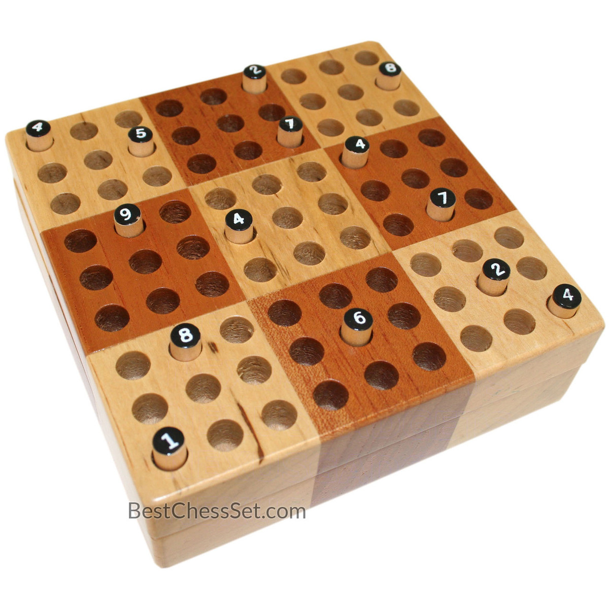 Wood Board Games ~ Elbert mini wooden travel sudoku board game set with wood