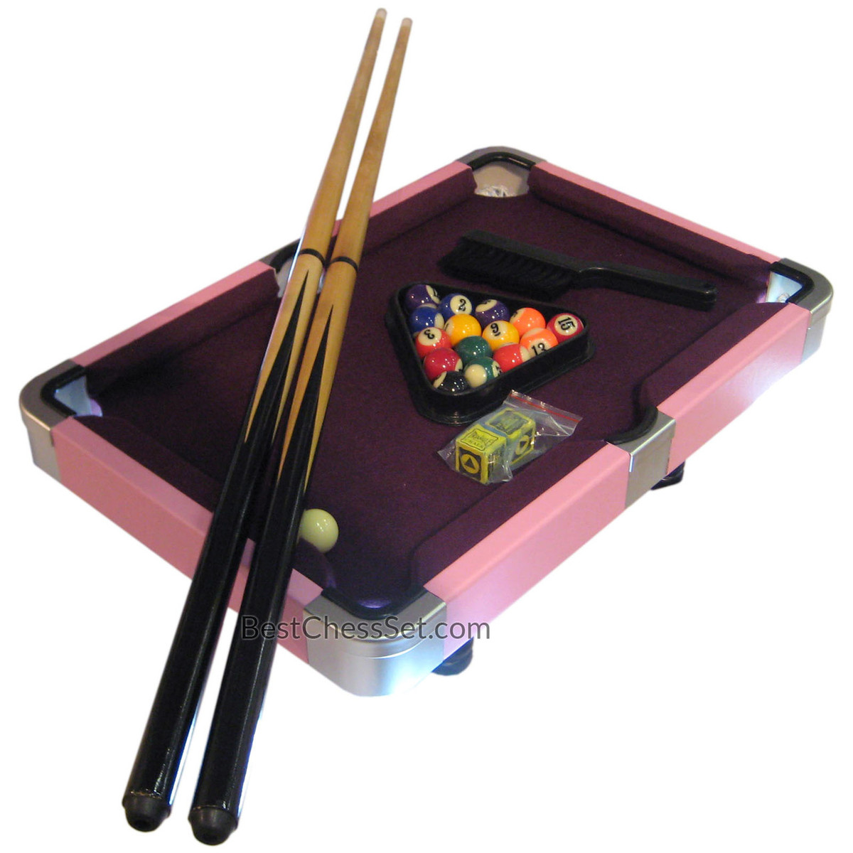 laura mini purple and pink pool table game with leatherette case 19 inch. Black Bedroom Furniture Sets. Home Design Ideas