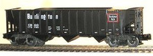 Weaver CB&Q 3 bay ribbed hopper car, 3 rail or 2 rail