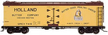 Atlas O Holland Butter 40' wood reefer, 3 rail or 2 rail  car